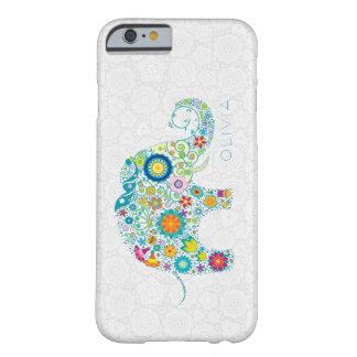 Elefante floral colorido de los damascos florales funda para iPhone 6 barely there
