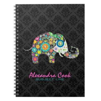 Elefante floral colorido de los damascos negros libretas