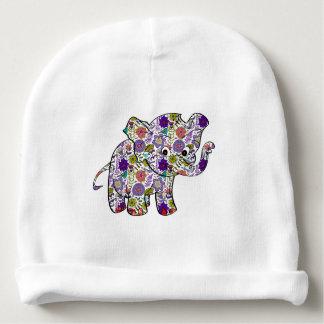 Elefante floral colorido lindo del bebé gorrito para bebe