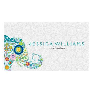 Elefante floral colorido lindo tarjetas de visita