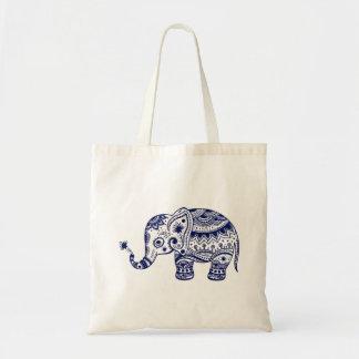 Elefante floral lindo en azules marinos bolsa tela barata
