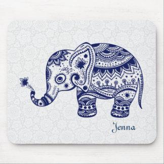 Elefante floral lindo en azules marinos mouse pads