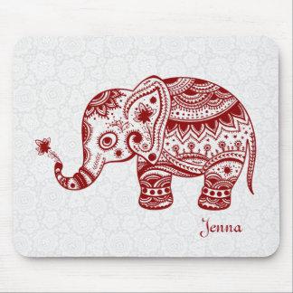 Elefante floral lindo en el rojo de Borgoña Tapetes De Ratón