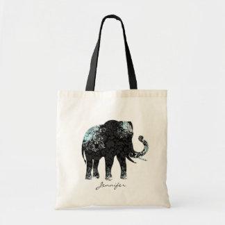 Elefante floral negro y azul bolsa tela barata