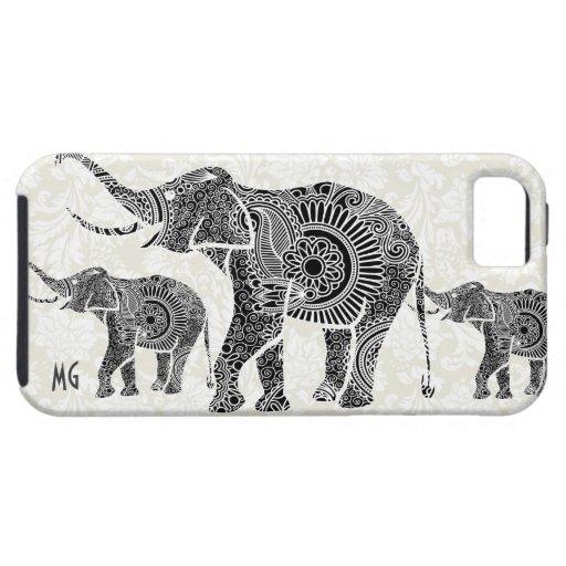 Elefante floral negro y blanco iPhone 5 carcasa
