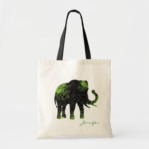 Elefante floral negro y verde bolsa