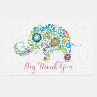 Elefante floral retro colorido 2 y damascos negros pegatina rectangular