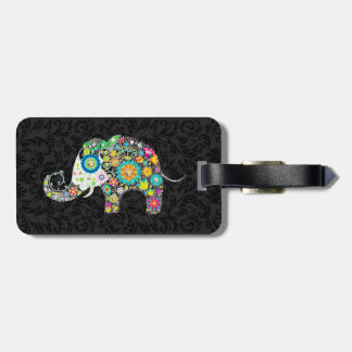 Elefante floral retro colorido y damascos negros 2 etiqueta de equipaje