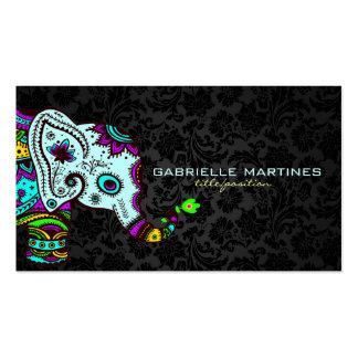 Elefante floral retro colorido y damascos negros 2 tarjetas de visita