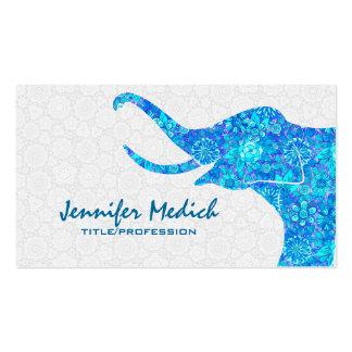 Elefante floral retro de los tonos azules tarjetas de visita
