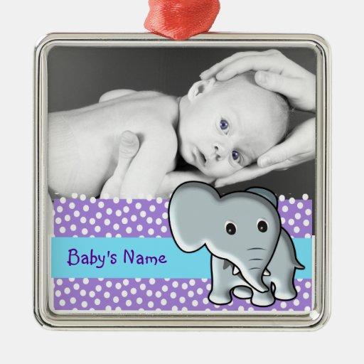 Elefante/foto del bebé ornaments para arbol de navidad