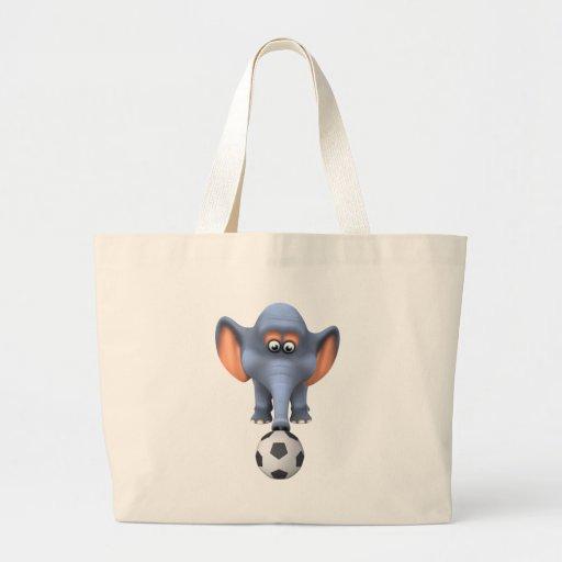 Elefante fresco del fútbol 3d (editable) bolsa tela grande