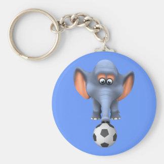 Elefante fresco del fútbol 3d (editable) llavero redondo tipo pin