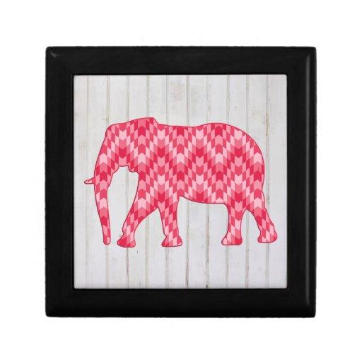 Elefante geométrico en el diseño de madera cajas de regalo