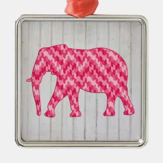 Elefante geométrico en el diseño de madera adorno cuadrado plateado