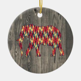 Elefante geométrico en el diseño de madera adorno redondo de cerámica
