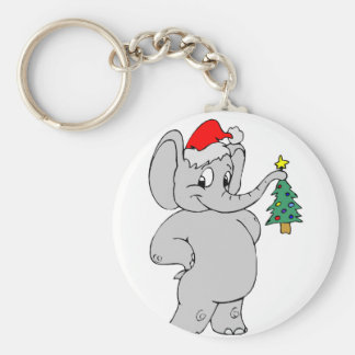 Elefante (gorra de Santa) Llavero Redondo Tipo Pin