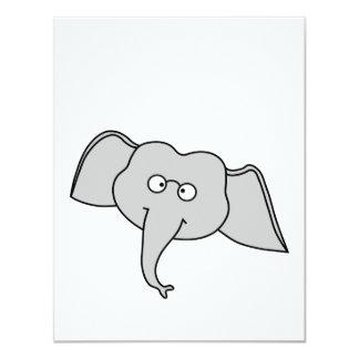 """Elefante gris con los vidrios. Historieta Invitación 4.25"""" X 5.5"""""""