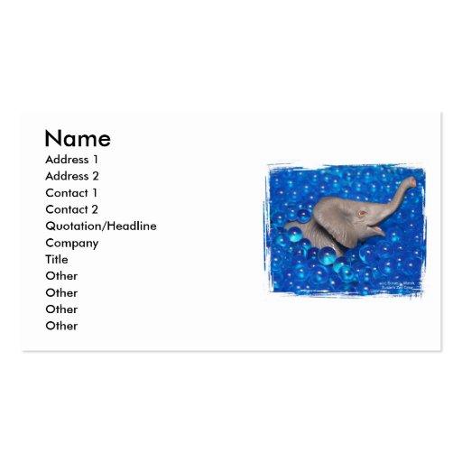 Elefante gris del juguete en burbujas azules tarjetas de visita