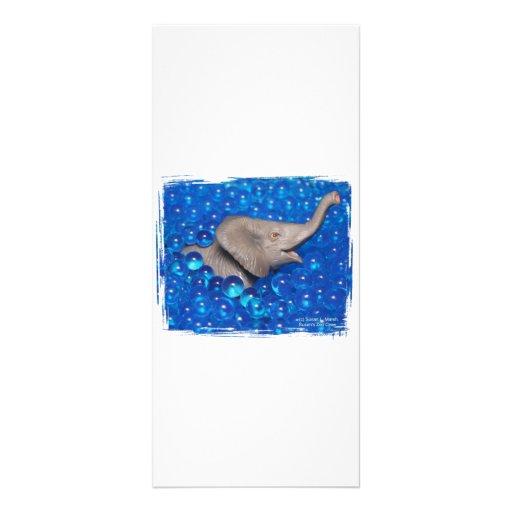 Elefante gris del juguete en burbujas azules tarjetas publicitarias personalizadas