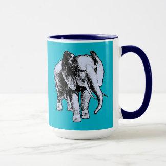 Elefante gris grande taza