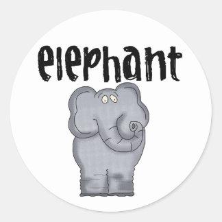 Elefante gris pegatina redonda