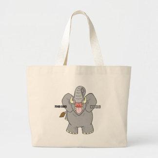 Elefante hambriento bolsa tela grande