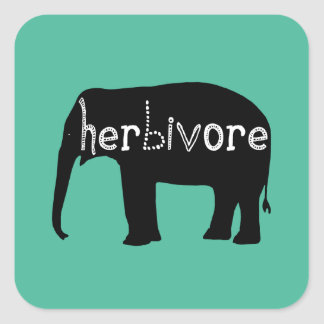Elefante - herbívoro - azul pegatina cuadrada