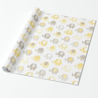 Elefante hermoso del amarillo del bebé papel de regalo