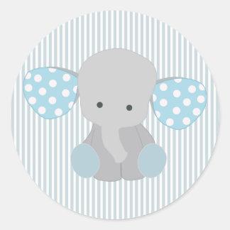 Elefante hermoso del azul del bebé pegatina redonda