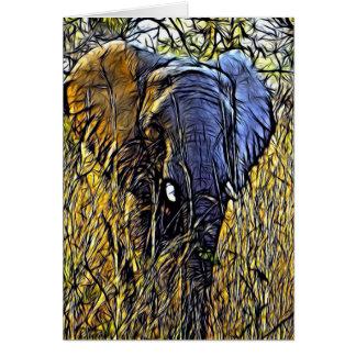 Elefante hermoso en el salvaje tarjeta de felicitación