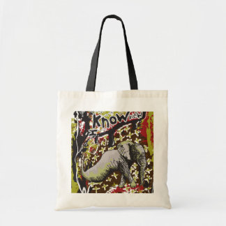 Elefante in the know tote bags