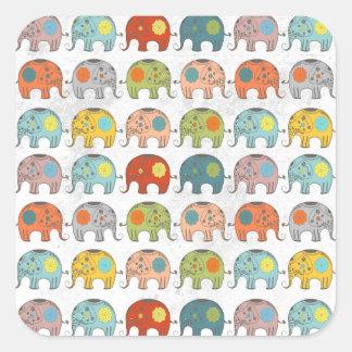 Elefante indio del circo de moda lindo calcomanía cuadradas personalizadas