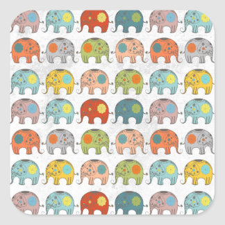 Elefante indio del circo de moda lindo pegatina cuadrada