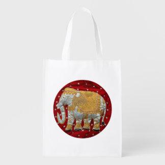Elefante indio embellecido bolsa de la compra