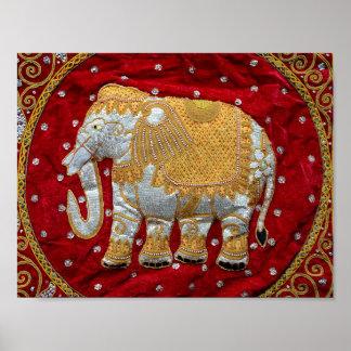 Elefante indio embellecido poster