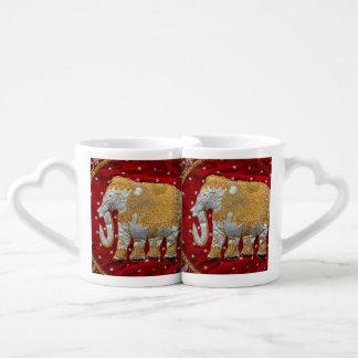 Elefante indio embellecido tazas amorosas