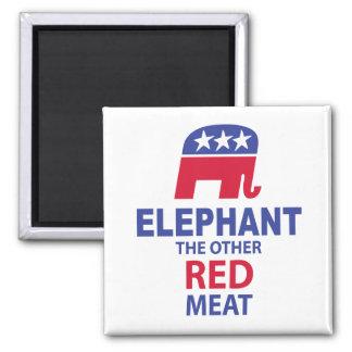 Elefante la otra carne roja imán cuadrado