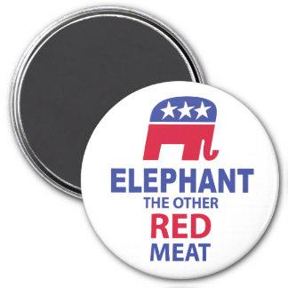 Elefante la otra carne roja imán redondo 7 cm