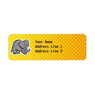 Elefante lindo; Amarillo-naranja Etiqueta De Remite