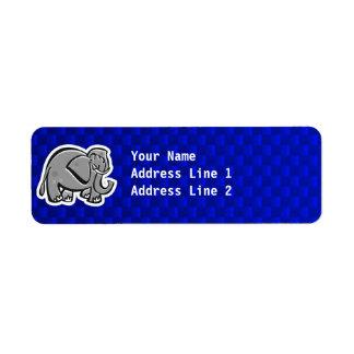 Elefante lindo; Azul Etiqueta De Remite