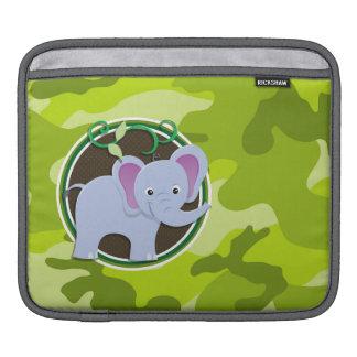 Elefante lindo; camo verde claro, camuflaje funda para iPads