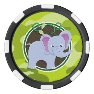 Elefante lindo; camo verde claro, camuflaje juego de fichas de póquer