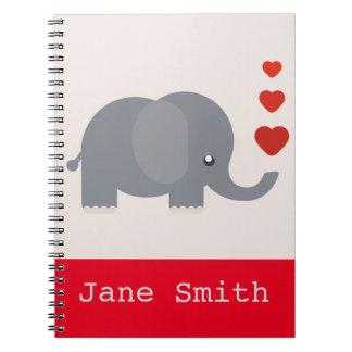 Elefante lindo con amor caprichoso de los libros de apuntes