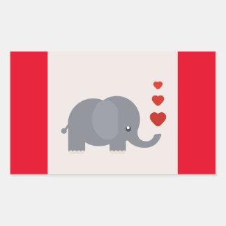 Elefante lindo con amor caprichoso de los pegatina rectangular