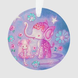 Elefante lindo con el chica cabelludo rosado