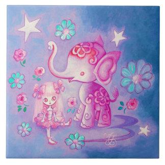 Elefante lindo con el chica cabelludo rosado azulejos