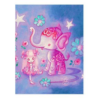 Elefante lindo con el chica cabelludo rosado postal