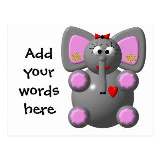 Elefante lindo con el oído postal