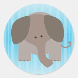 Elefante lindo de Brown Etiquetas Redondas